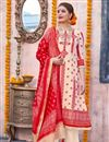 image of Cream Color Designer Traditional Wear Suit In Linen Fabric