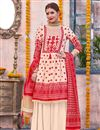 image of Linen Fabric Cream Color Designer Traditional Wear Palazzo Suit