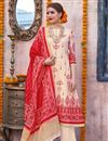 image of Linen Fabric Designer Traditional Wear Palazzo Suit In Cream Color