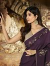 photo of Shilpa Shetty Party Style Designer Wine Color Saree With Fancy Blouse In Art Silk