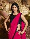 photo of Eid Special Shilpa Shetty Designer Georgette Party Style Dark Pink Saree With Fancy Blouse