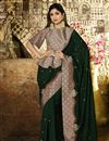 image of Eid Special Shilpa Shetty Designer Party Style Dark Green Art Silk Saree With Fancy Blouse