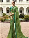 image of Alluring Green Festive Wear Georgette Printed Saree