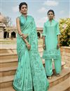 image of Traditional Embroidered Satin Fabric Party Wear Designer Saree In Sea Green