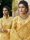 photo of Traditional Yellow Party Wear Designer Embroidered Saree In Satin Fabric