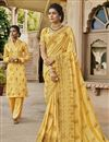 image of Traditional Yellow Party Wear Designer Embroidered Saree In Satin Fabric