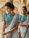 photo of Traditional Embroidered Grey Party Wear Designer Saree In Satin Fabric