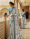 image of Traditional Embroidered Grey Party Wear Designer Saree In Satin Fabric