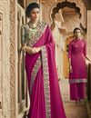 image of Traditional Art Silk Dark Pink Party Wear Designer Embroidered Saree