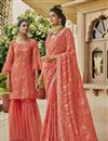 image of Peach Traditional Chinon Party Wear Designer Embroidered Saree
