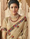 photo of Traditional Beige Party Wear Designer Art Silk Embroidered Saree