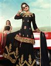 image of Black Color Function Wear Pakistani Style Sharara Dress In Satin Fabric