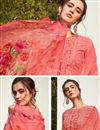 photo of Festive Wear Pink Color Georgette Fabric Digital Printed Palazzo Suit