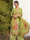 image of Georgette Fabric Festive Wear Green Color Digital Printed Palazzo Dress