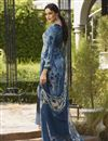 photo of Crepe Fabric Blue Color Festive Wear Printed Palazzo Dress
