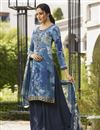 image of Crepe Fabric Blue Color Festive Wear Printed Palazzo Dress