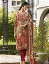 image of Festive Wear Beige Color Printed Straight Cut Suit In Crepe Fabric