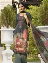 image of Grey Color Festive Wear Printed Palazzo Dress In Crepe Fabric