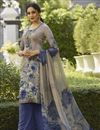 image of Festive Wear Cream Color Crepe Fabric Printed Palazzo Suit