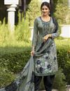 image of Festive Wear Grey Color Crepe Fabric Printed Patiala Suit