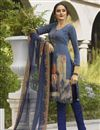 image of Festive Wear Blue Color Crepe Fabric Printed Straight Cut Suit