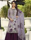 image of Crepe Fabric Festive Wear Printed Palazzo Dress In Lavender Color