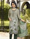 image of Festive Wear Crepe Fabric Printed Straight Cut Suit In Dark Beige Color