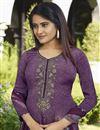 photo of Purple Color Festive Wear Crepe Fabric Printed Palazzo Dress