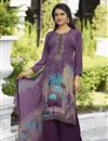 image of Crepe Fabric Festive Wear Printed Palazzo Dress In Purple Color