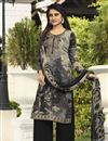 image of Festive Wear Crepe Fabric Black Color Printed Palazzo Suit