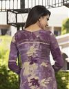photo of Purple Color Festive Wear Crepe Fabric Printed Straight Cut Dress