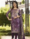 image of Purple Color Festive Wear Crepe Fabric Printed Straight Cut Dress