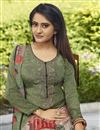 photo of Festive Wear Crepe Fabric Mehendi Green Color Printed Straight Cut Suit