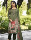 image of Festive Wear Crepe Fabric Mehendi Green Color Printed Straight Cut Suit