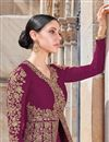 photo of Function Wear Georgette Fabric Wine Color Embroidered Floor Length Anarkali Suit