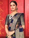 photo of Art Silk Fabric Festive Wear Designer Navy Blue Color Weaving Work Saree