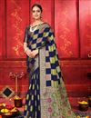image of Art Silk Fabric Festive Wear Designer Navy Blue Color Weaving Work Saree