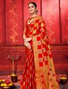 image of Red Color Festive Wear Art Silk Fabric Designer Weaving Work Saree