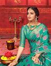 photo of Cyan Color Festive Wear Art Silk Fabric Designer Weaving Work Saree