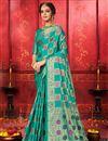image of Cyan Color Festive Wear Art Silk Fabric Designer Weaving Work Saree