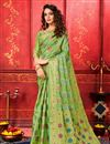 image of Green Color Festive Wear Designer Weaving Work Saree In Art Silk Fabric