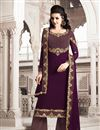 image of Function Wear Wine Color Designer Georgette Fabric Palazzo Suit