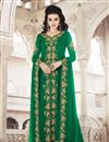 image of Georgette Fabric Green Color Function Wear Designer Anarkali Dress