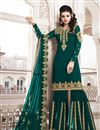 image of Function Wear Teal Color Designer Sharara Suit In Georgette Fabric