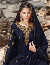photo of Designer Sangeet Wear Navy Blue Color Georgette Fabric Embroidered Sharara Suit