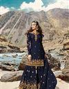 image of Designer Sangeet Wear Navy Blue Color Georgette Fabric Embroidered Sharara Suit