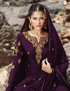 photo of Designer Georgette Fabric Sangeet Wear Embroidered Purple Color Sharara Suit
