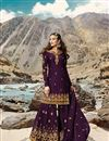 image of Sangeet Wear Georgette Fabric Designer Embroidered Sharara Dress In Purple Color