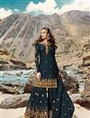 image of Designer Georgette Fabric Sangeet Wear Embroidered Teal Color Sharara Suit