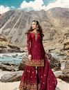 image of Red Color Sangeet Wear Designer Embroidered Sharara Dress In Georgette Fabric